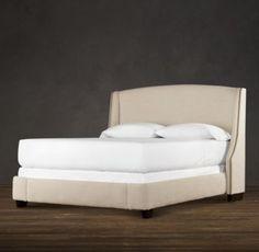 Restoration Hardware - Warner Upholstered Bed. $2545 on promo in fog, brushed nickel nailheads.