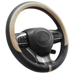 Beige NEW ARRIVAL-HORSE KINGDOM Genuine Leather Steering Wheel Covers Breatheable Air-Mesh Non-Slip Set