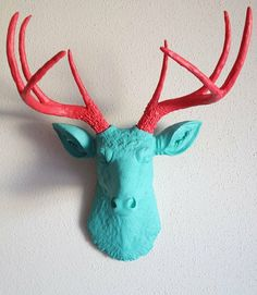 turquoise and red, stag christmas coming