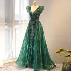 V Neck Prom Dresses, Mermaid Evening Dresses, Formal Dresses, Green Gown, Prom Outfits, Custom Dresses, Stunning Dresses, Custom Made, Color 2