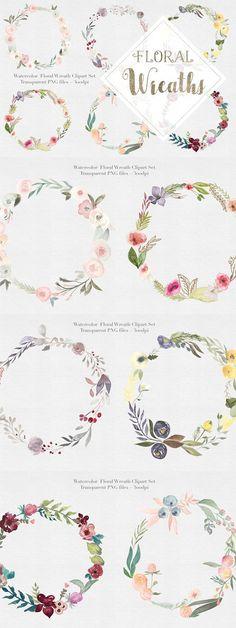 Watercolor Floral Wreaths Vol.1. Watercolor Flowers