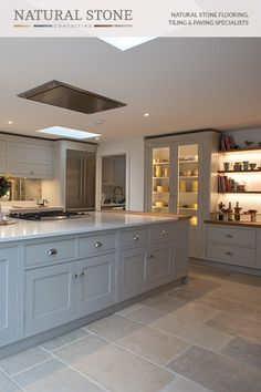 Open Plan Kitchen Dining Living, Living Room Kitchen, Home Decor Kitchen, Country Kitchen, Kitchen Interior, New Kitchen, Country Living, Kitchen Ideas, Stone Flooring