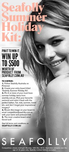 Pin It to Win It! Full T&C's here http://www.seafolly.com.au/terms-and-conditions/