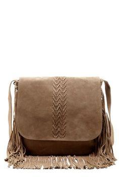 Jessica Suede Fringe Messenger Bag