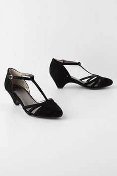 T-Strap Kitten Heels #anthropologie LOVE something like this, or these. (Try and find a slightly longer heel?)