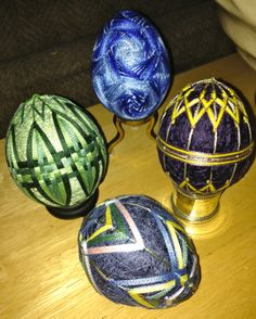 my temari eggs, by Carolyn Michelsen