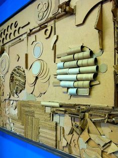 Choice of relief sculpture or full 3D using slits and slats. Use all kinds of approaches: tear, cut, peel, crush, etc.