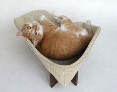 Retro modern pet bed in ivory nubby upholstery by likekittysville, $89.00