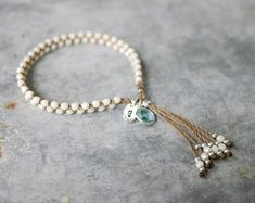 Best 12 Initial Bracelet – Personalized Bracelet – Something Blue – Beaded Tassel Bracelet – Yoga Bracelet – Water and Workout-Friendly! Add an initial charm and bezel charm to my classic tassel bracelet to personalize for yourself or a gift! Tassel Bracelet, Yoga Bracelet, Initial Bracelet, Bracelet Crafts, Beaded Bracelets, Gypsy Bracelet, Yoga Armband, Beaded Jewelry, Handmade Jewelry