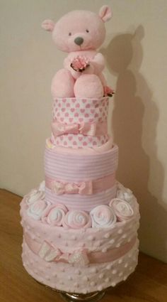 3 Tier Baby Girl Nappy Cake by April Showers Derbyshire.                                                                                                                                                      More