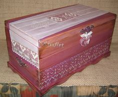 Wedding gift for my niece, a large wooden hand painted chest with a dowry, much like the ones that our grandmothers had:)
