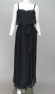 Adele Simpson black chiffon pleated maxi dress | From a collection of rare vintage evening dresses at http://www.1stdibs.com/fashion/clothing/evening-dresses/
