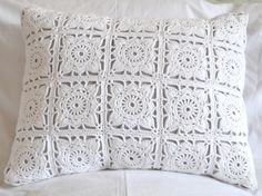 Items similar to Doilie Square Crochet front cushion cover with cotton twill backing on Etsy Crochet Pillow Cases, Crochet Cushion Cover, Crochet Bedspread, Crochet Cushions, Granny Square Crochet Pattern, Crochet Chart, Crochet Squares, Filet Crochet, Doily Patterns
