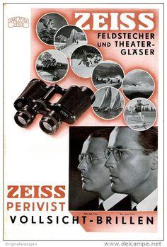 Original-Werbung/ Anzeige 1935 - ANZEIGENSTRECKE ZUSAMMENHÄNGEND/ZEISS FELDSTECHER /PERIVIST BRILLEN -  4 x 155 x 230 mm