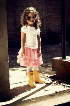 Girl - Fashion - Child - Kids - Gumboots - Rain Boots - Shoes - Yellow - Bow