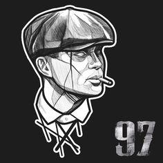 Peaky Blinders Series, Cillian Murphy Peaky Blinders, Dark Art Drawings, Cartoon Drawings, Peaky Blinders Tommy Shelby, Tattoo Lettering Styles, Doodle Tattoo, Manga Cute, Desenho Tattoo