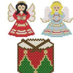 Free Beaded Christmas Patterns | Herringbone Snowflake Christmas Ornament