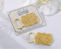 Kate Aspen's Gold Glitter Bottle Openers are good as gold! Give to guests as an engagement party or wedding favor they'll absolutely use.