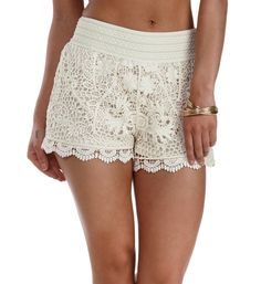 Natural Crochet Gypsy Shorts