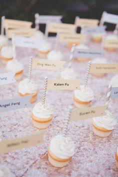 Cupcakes as escort cards. Sugarfix Desserts. Photography: Christine Farah Photography - christinefarah.com Read More: http://www.stylemepretty.com/2014/07/08/glamorous-affair-at-the-london-west-hollywood/