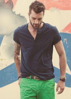 Green pants and navy henley t-shirt Fashion Mode 46fd198edda