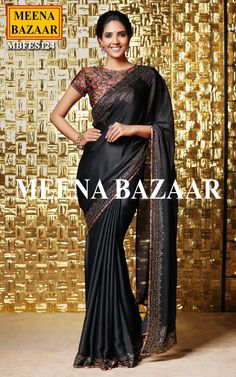 Black Swarovski Work Saree @ MeenaBazaar