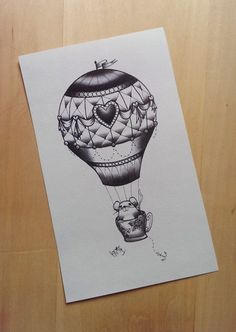 Cute Mouse in a Teacup Hot Air Balloon Tattoo Art by MeliKovacs