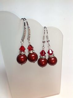 CIJ 20% OFF Sterling and CZ or Surgical Steel Swarovski Red Pearl and Crystal Earrings, Christmas Earrings