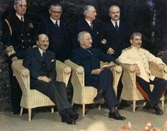 1945 Potsdam Conference Clement Attlee, Harry Truman, and Joseph Stalin the leaders issued a declaration demanding surrender from Japan also discussing the peace settlements in Europe