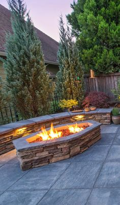 Firepit w/Seatwall - Outdoor Fireplace Patio, Patio Gas, Fire Pit Area, Fire Pit Backyard, Fire Pits, Backyard Patio Designs, Small Backyard Landscaping, Wall Seating, Outdoor Living
