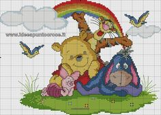 Schema punto croce winnie the pooh cross stitch baby, cross stitch kits, cross stitch Cross Stitch Baby, Cross Stitch Kits, Cross Stitch Charts, Cross Stitch Designs, Winnie The Pooh Pictures, Winnie The Pooh Friends, Disney Stitch, Cross Stitching, Cross Stitch Embroidery