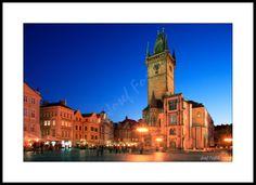 Framed fine art photography - Old Town Square with the Old Town Hall, Prague, Czech Republic. Photo: Josef Fojtik - www.joseffojtik.com - https://www.facebook.com/Fineartphotoprints