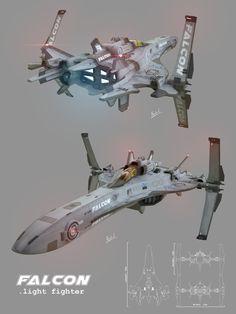 Falcon Star Fighter, Alejandro Gallego on ArtStation at https://www.artstation.com/artwork/3Qd6Y