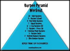 burpee pyramid workout via Bonnie Lang Fitness Boot Camp Workout, Workout Gear, Bootcamp Ideas, Pyramid Workout, Fit Club, Basketball Quotes, Strength Workout, Burpees, I Work Out