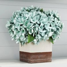 Sea Foam Blue Hydrangea in Rustic Pot
