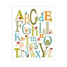 Children's Wall Art / Nursery Decor Alphabet Poster - ABC alphabet typography 11x14  inch Poster Print on Etsy, $20.00