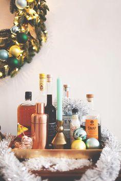 setting up the bar for holiday entertaining! @CrateAndBarrel #CrateBarrelHoliday