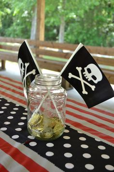 Pirate Party * Mason Jar Centerpieces with Gold Coins and Pirate Flags
