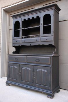 painted hutches | Vintage China Hutch. Painted Black and lightly distressed. Great ...