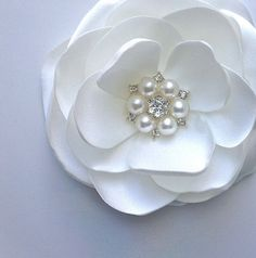 White Fabric Flower Bridal Hair Clip by DinkybirdBoutique on Etsy, $26.00