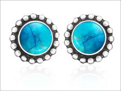 Bali silver earrings stud featuring turquoise - bali silver jewelry wholesale - baligoodjewelry.com  #bali #silver #jewel #jewelry #balijewelry #earrings #turquoise #fashion #silverjewelry