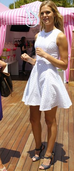 Pretty cute white dress with grey heels | Just a Pretty Style