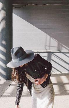 leather jacket + fedora