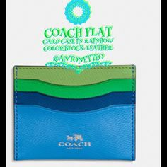 "COACH FLAT CARD CASE in COLORBLOCK LEATHER COACH FLAT CARD CASE in RAINBOW COLORBLOCK LEATHER. 🌈DETAILS:  CROSSGRAIN LEATHER, CREDIT CARD & MULTIFUNCTION POCKETS.   SIZE:  4""(L) X 3 1/4(H)   COLOR: SILVER/AZURE MULTI Coach Accessories Key & Card Holders"