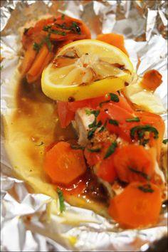 Papillotes de saumon menthe/ miel