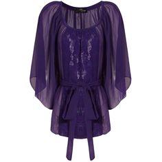 Purple Lace Insert Kimono Top ($24) found on Polyvore