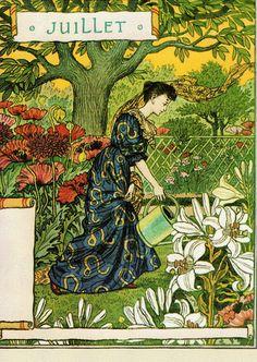 Time for La Belle Jardiniere! Juillet Eugene Grasset also from Bob Young Vintage Prints, Vintage Art, Eugene Grasset, Design Art Nouveau, Davidson Galleries, Jugendstil Design, Vintage Calendar, Wood Engraving, Tarot