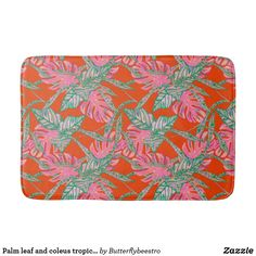 Shop Palm leaf and coleus tropical fire bath mat created by Butterflybeestro. Tropical Bath Mats, Tropical Bathroom, Tropical Design, Fire And Ice, Bathroom Sets, Coral Pink, Memory Foam, Palm, How Are You Feeling