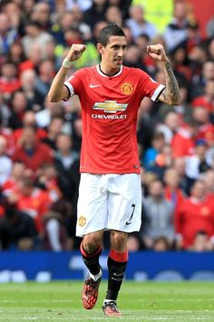Oct. 5th. 2014: Di Maria celebrates his goal against Everton