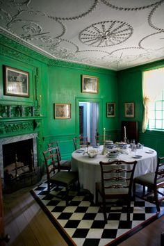 """Remember being totally smitten with this color when we walked through Mt. Vernon a few years ago. According to the website: In 1785 striking verdigris-green paint was added. Washington believed the color to be """"grateful to the eye"""" and less likely than other colors to fade"""